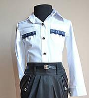 Детская блуза для девочки, белого цвета, нарядная