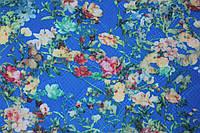Ткань Трикотаж жаккард сетка цветы 36 ярко-синий