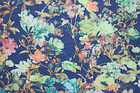 Ткань Трикотаж жаккард сетка цветы 36 синий