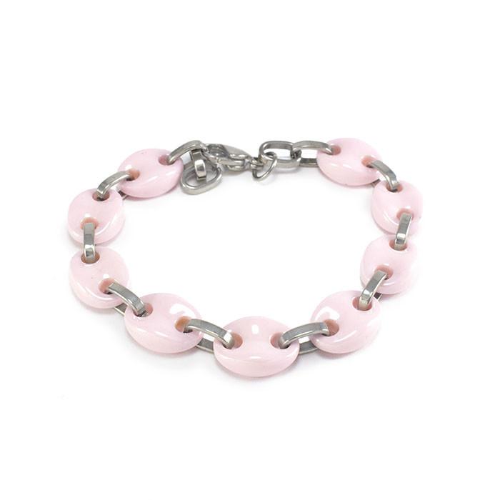 Браслет керамический розовый со звеньями цвета серебра Арт. BS025CR