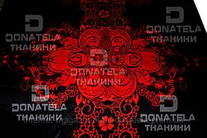 Натуральный шелк Черный с красным