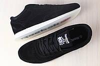Мужские кроссовки, из натуральной замши, черные, на шнурках