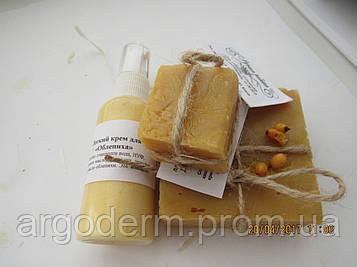 """Детское мыло """"Облепиха"""" 100% натуральное органическое с волокнами натурального шелка"""