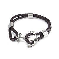 Кожаный браслет Якорь темно-коричневый с серебристыми вставками Арт. BS059LR