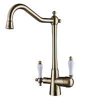 Смеситель с подключением фильтрованной воды 2 в 1 Kaiser Vincent 31844-3 Bronze