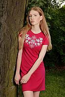 Сукня Лісова пісня срібна на червоному – короткий рукав