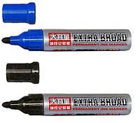 Маркер EXTRA, перманентный, синий и черный, толщиалинии 3 мм