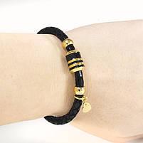 Кожаный браслет с золотистыми вставками и подвеской Сердечко черный Арт. BS056LR, фото 3