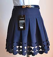Детская школьная юбка для девочки, синего цвета, фото 1