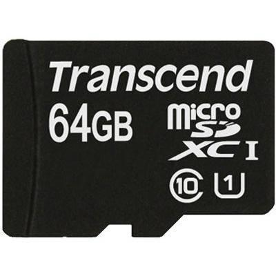Карта памяти Transcend 64GB microSDXC C10 UHS-I R45MB/s + SD адаптер (TS64GUSDU1)