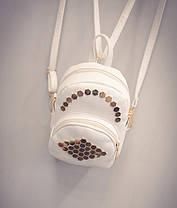 Стильный мини-рюкзак с  заклепками сотами, фото 3