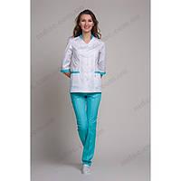 Медицинский костюм Сингапур женский комбинированный белый/мятный котоновый №1009