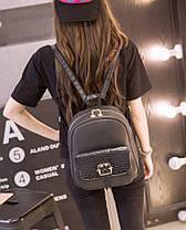 Стильный городской рюкзак со змеиным карманом и пряжкой , фото 3