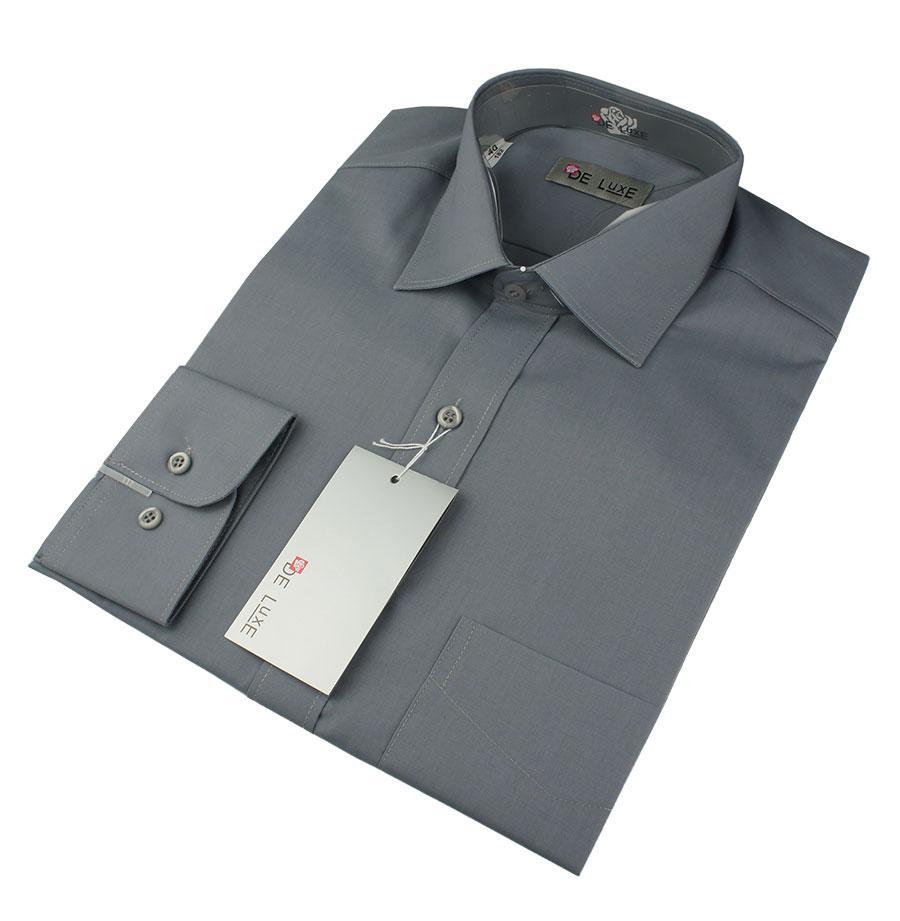 Мужская классическая рубашка De Luxe 305D серая (большой размер)