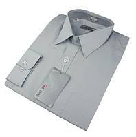 Мужская классическая рубашка De Luxe 304D светло-серая (большой размер)