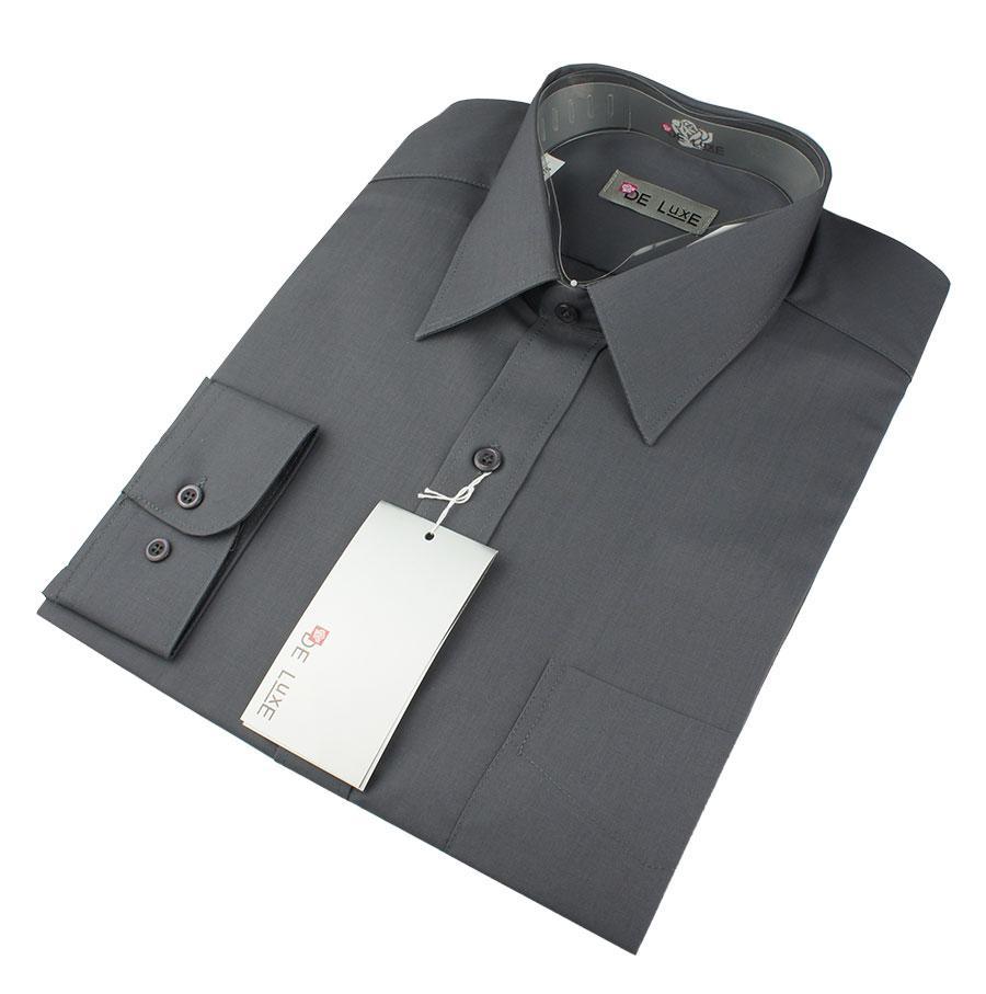 Мужская классическая рубашка De Luxe 302D темно-серая (большой размер)