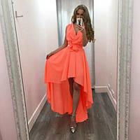 Женское Оранжевое Шифоновое ПЛАТЬЕ Летнее укорочено спереди, фото 1