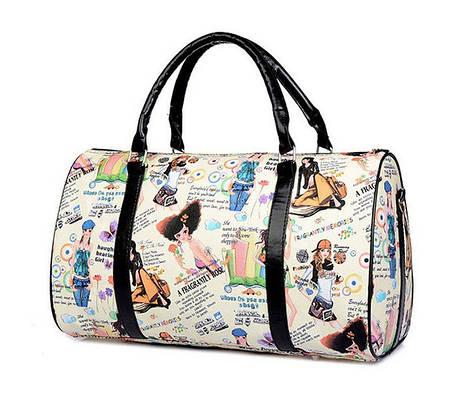 Большая женская сумка бочонок с принтом Шоппер, фото 2