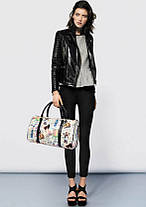 Большая женская сумка бочонок с принтом Шоппер, фото 3