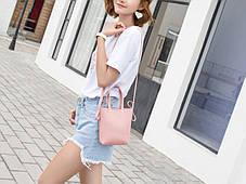 Модная мини-сумка с ручками и поясом, фото 3