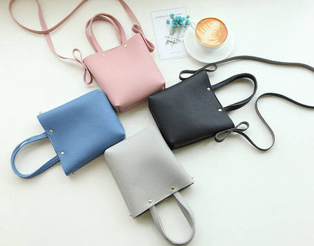 Модная мини-сумка с ручками и поясом, фото 2