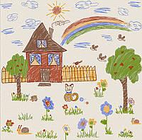 Обои, бумажные, дом, сад, детский рисунок,  детские, Мечта 1297, 0,53*10м
