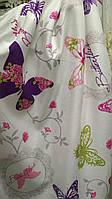 Портьера бабочки сиреневые розовые зеленые