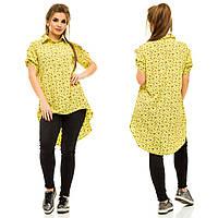Рубашка-туника асимметричной длины на пуговицах, в абстрактный принт.