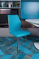 Современный металлический хромированный стул California (Калифорния) желто-голубой, стиль модерн