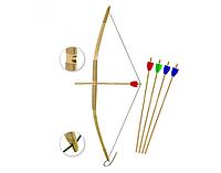 Традиционный лук. Бамбуковый детский лук, 5 стрел в комплекте.