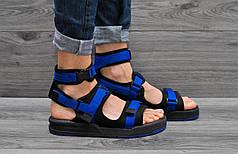 Мужские босоножки New Balance синие с черным топ реплика
