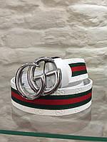 Кожаный женский пояс ремень белый Gucci