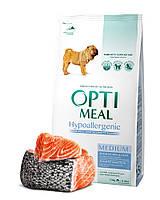 Гипоаллергенный сухой корм Optimeal для взрослых собак средних пород – лосось, 1,5кг
