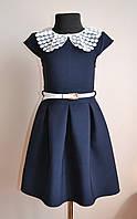 Школьное детское платье сарафан для девочки, синий