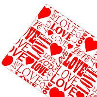 """Подарочная бумага ретро """"Love"""" (65) красное на белом"""