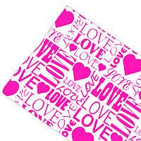 """Подарочная бумага ретро """"Love"""" (189) малиновое на белом"""