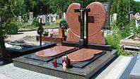 Памятник двойной с надгробием и крестом