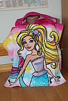 Детские махровые пончо с капюшоном Barbie