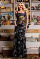 Платье женское свободного кроя, сарафан летний длинный в пол, сарафан черного цвета в горошек большо