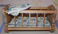 """Игровой набор """"Милана"""": Деревянная кукольная кроватка (бук) с постелькой, 45*25*30 см."""
