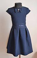 Детское школьное платье сарафан для девочек, синий