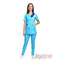 Медицинский костюм женский Рио голубой/комби, фото 1
