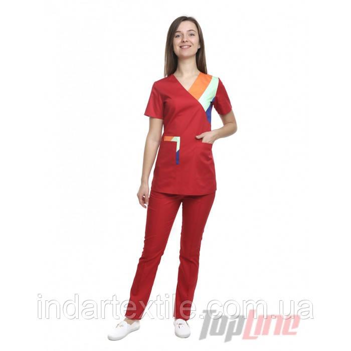 9a0512821a9 Медицинский костюм женский Рио красный комби  продажа