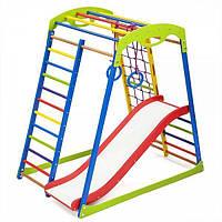 Детский спортивный комплекс для дома SportWood Plus 1 с горкой, сеткой, кольцами ТМ SportBaby Разноцветный