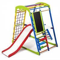Детский спортивный комплекс для дома SportWood Plus 3 с горкой, сеткой, кольцами, счетами ТМ SportBaby Разноцветный