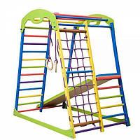 Детский спортивный комплекс для дома SportWood с горкой, сеткой, кольцами ТМ SportBaby Разноцветный «SportWood»