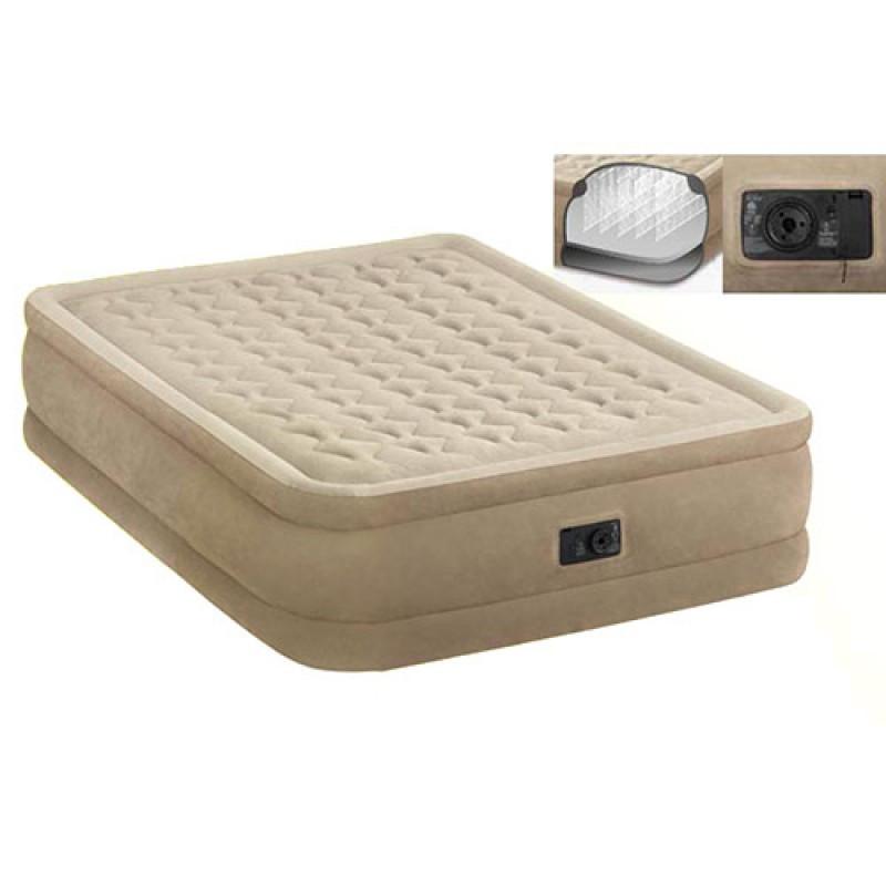 Надувная велюр-кровать Intex 64458 с встроенным электронасосом 220 В