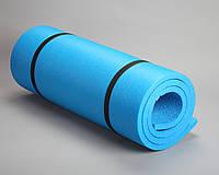 Каремат для йоги однослойный синий 1,8*0,6м, с односторонним рифлением