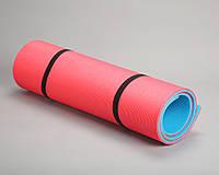 Каремат для походов двухслойный красный/синий  1,8*0,6м, с односторонним рифлением