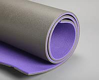 Коврик для фитнеса двухслойный фиолетовый/серый  1,8*0,6м, с односторонним рифлением